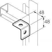 Galvanised 2 Hole 90° Angle Bracket 48mm x 48mm Unistrut Compatible