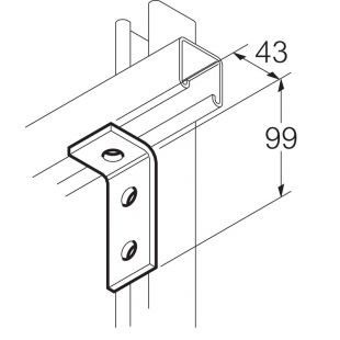 Galvanised 3 Hole 90° Angle Bracket 43mm x 99mm Unistrut Compatible