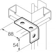 Galvanised 3 Hole 90° Angle Bracket 88mm x 54mm Unistrut Compatible