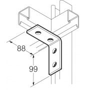 Galvanised 4 Hole 90° Angle Bracket 88mm x 99mm Unistrut Compatible
