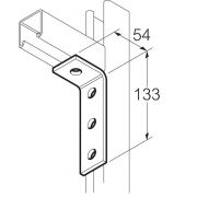 Galvanised 4 Hole 90° Angle Bracket 55mm x 132mm Unistrut Compatible
