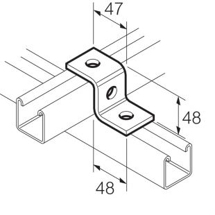 Galvanised 3 Hole Z Bracket for 41mm x 41mm Channel Unistrut Compatible