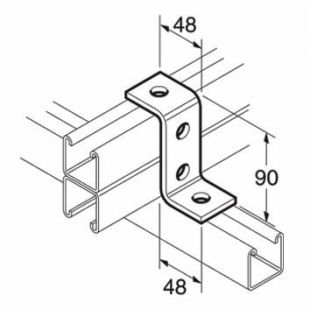 Galvanised 4 Hole Z Bracket for 41mm x 82mm Channel Unistrut Compatible