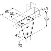 Galvanised 4 Hole 90° Bracket 90mm x 99mm Unistrut Compatible