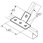 Galvanised 4 Hole 45° T Bracket Unistrut Compatible