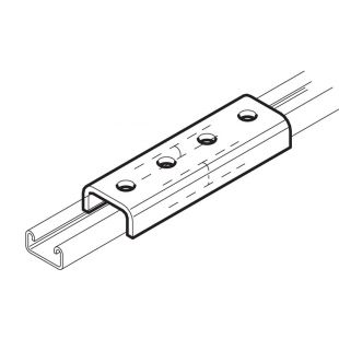 Galvanised External Channel Jointing Coupler 23mm x 175mm Unistrut Compatible