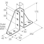 Galvanised Single Channel Gussetted Bracket 252mm x 175mm Unistrut Compatible