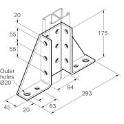 Galvanised Channel Gusseted Bracket 293mm x 175mm Unistrut Compatible