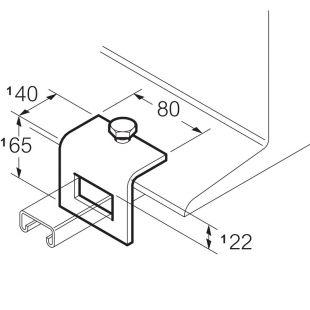 Galvanised Window Beam Clamp 40mm x 65mm c/w Cone Screw Unistrut Compatible