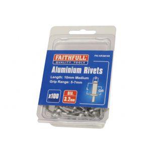 Aluminium Rivets 3.2 x 10mm Medium Pre-Pack of 100