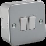 Knightsbridge Metal Clad 10A 2G 2 Way Switch