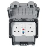 MK K56231GRY Masterseal Plus Grey 2 Gang Double Pole RCD Protected Switched Socket 30mA Active Contr