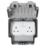 MK K56482GRY Masterseal Plus Grey 2 Gang Double Pole Switched Socket IP66 13A