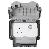 MK K56487GRY Masterseal Plus Grey Key Operated 1 Gang Key Operated Double Pole Switched Socket IP66