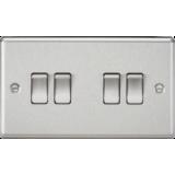 Knightsbridge 10A 4G 2 Way Plate Switch - Rounded Edge Brushed Chrome