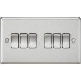 Knightsbridge 10A 6G 2 Way Plate Switch - Rounded Edge Brushed Chrome