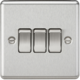 Knightsbridge 10A 3G 2 Way Plate Switch - Rounded Edge Brushed Chrome