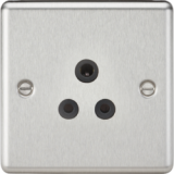 Knightsbridge 5A Unswitched Socket - Rounded Edge Brushed Chrome Finish With Black Insert