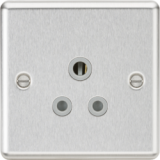 Knightsbridge 5A Unswitched Socket - Rounded Edge Brushed Chrome Finish With Grey Insert