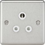 Knightsbridge 5A Unswitched Socket - Rounded Edge Brushed Chrome With White Insert