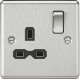 Knightsbridge 13A 1G DP Switched Socket With Black Insert - Rounded Edge Brushed Chrome