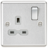Knightsbridge 13A 1G DP Switched Socket With Grey Insert - Rounded Edge Brushed Chrome