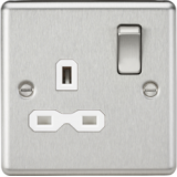 Knightsbridge 13A 1G DP Switched Socket With White Insert - Rounded Edge Brushed Chrome
