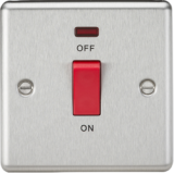 Knightsbridge 45A DP Switch With Neon (Single Size) - Rounded Edge Brushed Chrome
