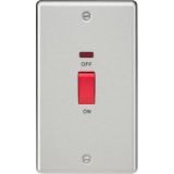 Knightsbridge 45A DP Switch With Neon (Double Size) - Rounded Edge Brushed Chrome