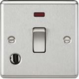 Knightsbridge 20A 1G DP Switch With Neon & Flex Outlet - Rounded Edge Brushed Chrome