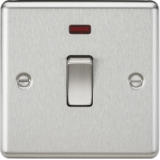Knightsbridge 20A 1G DP Switch With Neon - Rounded Edge Brushed Chrome