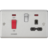 Knightsbridge 45A DP Cooker Switch & 13A Switched Socket With Neons & Black Insert - Rounded Edge Br
