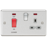 Knightsbridge 45A DP Cooker Switch 13A Switched Socket With Neons & Grey Insert - Rounded Edge Brush