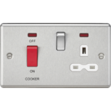 Knightsbridge 45A DP Cooker Switch & 13A Switched Socket With Neons & White Insert - Rounded Edge Br