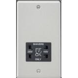 Knightsbridge 115-230V Dual Voltage Shaver Socket With Black Insert - Rounded Edge Brushed Chrome