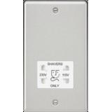 Knightsbridge 115-230V Dual Voltage Shaver Socket With White Insert - Rounded Edge Brushed Chrome
