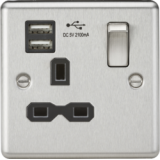 Knightsbridge 13A 1G Switched Socket Dual USB Charger Slots With Black Insert - Rounded Edge Brushed