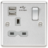 Knightsbridge 13A 1G Switched Socket Dual USB Charger Slots With Grey Insert - Rounded Edge Brushed
