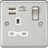 Knightsbridge 13A 1G Switched Socket Dual USB Charger Slots With White Insert - Rounded Edge Brushed
