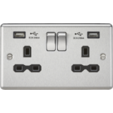 Knightsbridge 13A 2G Switched Socket Dual USB Charger Slots With Black Insert - Rounded Edge Brushed