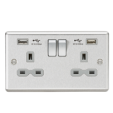 Knightsbridge 13A 2G Switched Socket Dual USB Charger Slots With Grey Insert - Rounded Edge Brushed