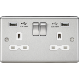 Knightsbridge 13A 2G Switched Socket Dual USB Charger Slots With White Insert - Rounded Edge Brushed