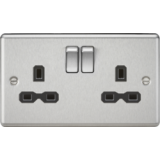 Knightsbridge 13A 2G DP Switched Socket With Black Insert - Rounded Edge Brushed Chrome