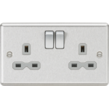 Knightsbridge 13A 2G DP Switched Socket With Grey Insert - Rounded Edge Brushed Chrome