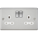 Knightsbridge 13A 2G DP Switched Socket With White Insert - Rounded Edge Brushed Chrome