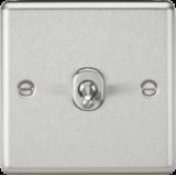 Knightsbridge 10A 1G Intermediate Toggle Switch - Rounded Edge Brushed Chrome