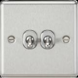 Knightsbridge 10A 2G 2 Way Toggle Switch - Rounded Brushed Chrome