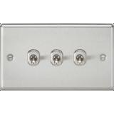 Knightsbridge 10A 3G 2 Way Toggle Switch - Rounded Brushed Chrome