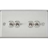 Knightsbridge 10A 4G 2 Way Toggle Switch - Rounded Brushed Chrome