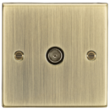 Knightsbridge TV Outlet (Non-Isolated) - Square Edge Antique Brass